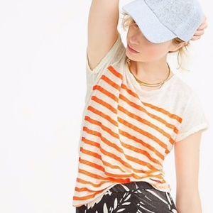 J. Crew White Orange Stripe Linen T-shirt